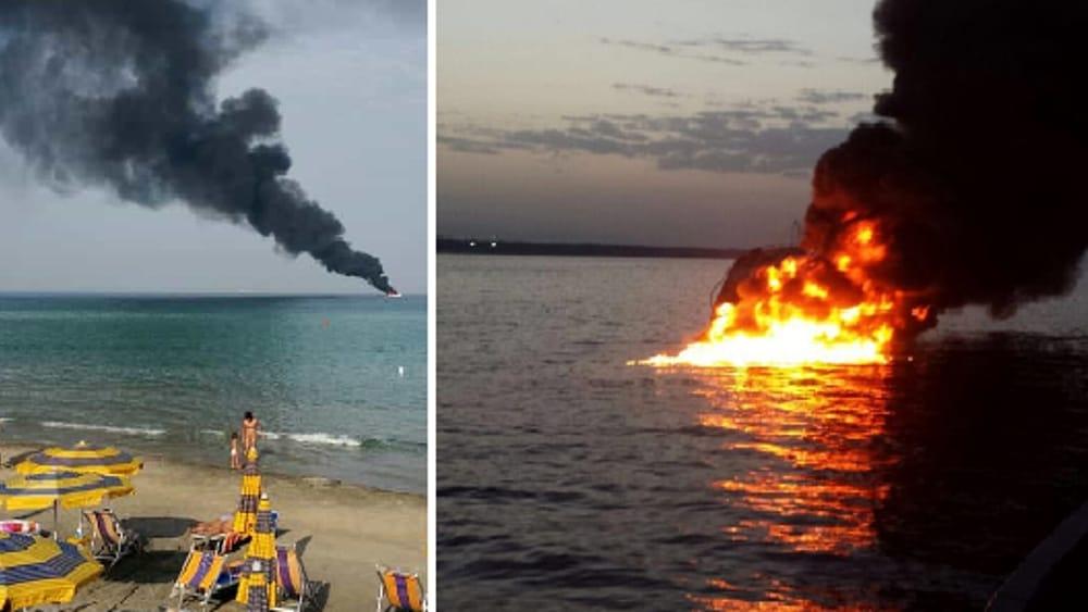 Brucia lo yacht della moglie di semeraro salvate le tre for Il canotto a bordo degli yacht